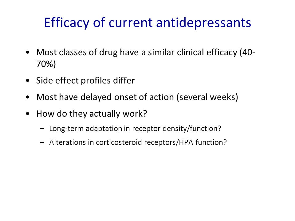 Efficacy of current antidepressants