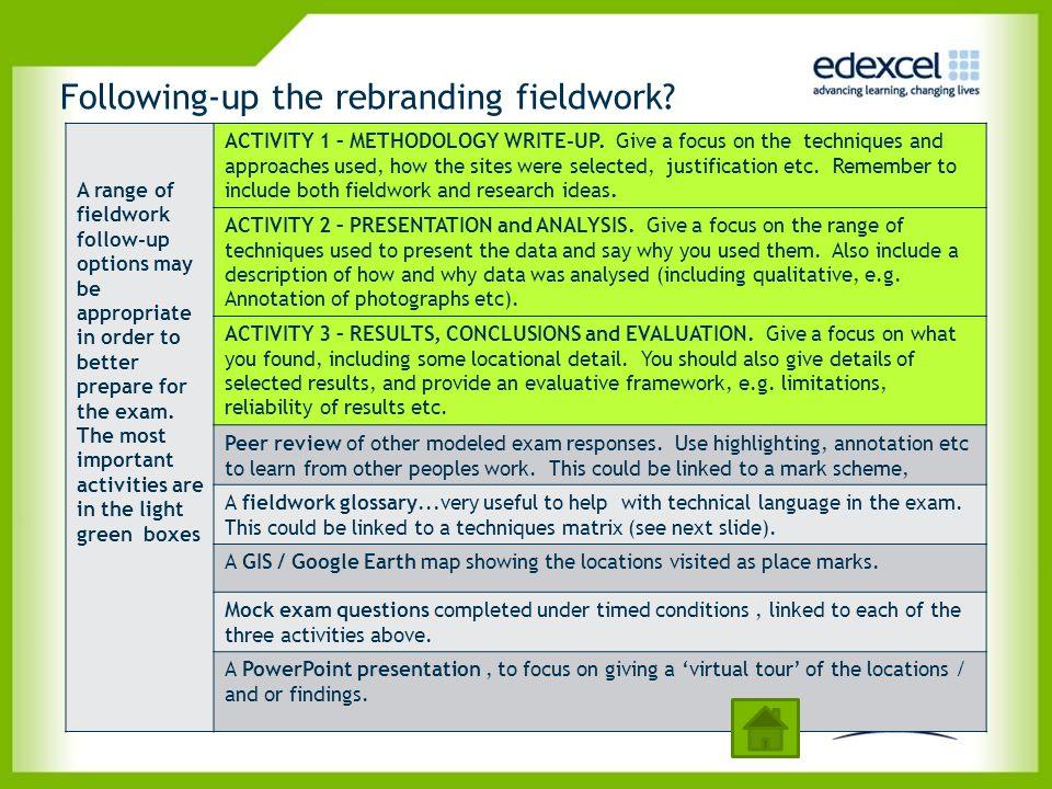 Following-up the rebranding fieldwork