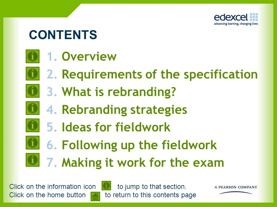 Requirements of the specification What is rebranding