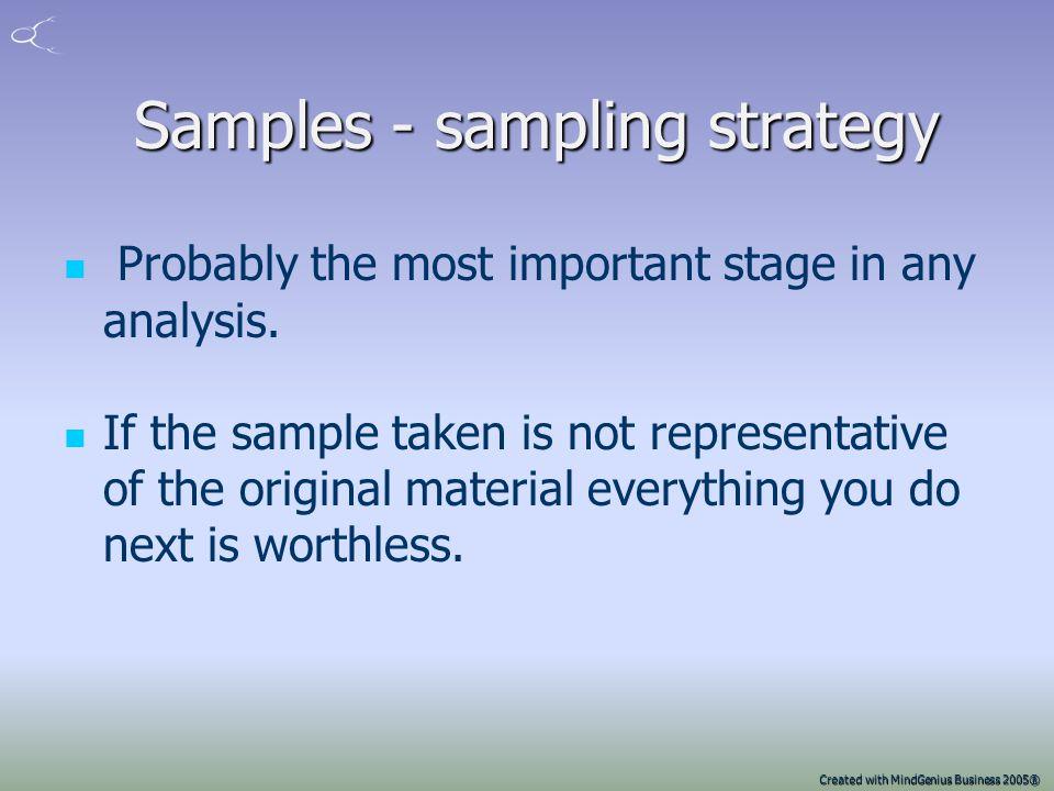 Samples - sampling strategy
