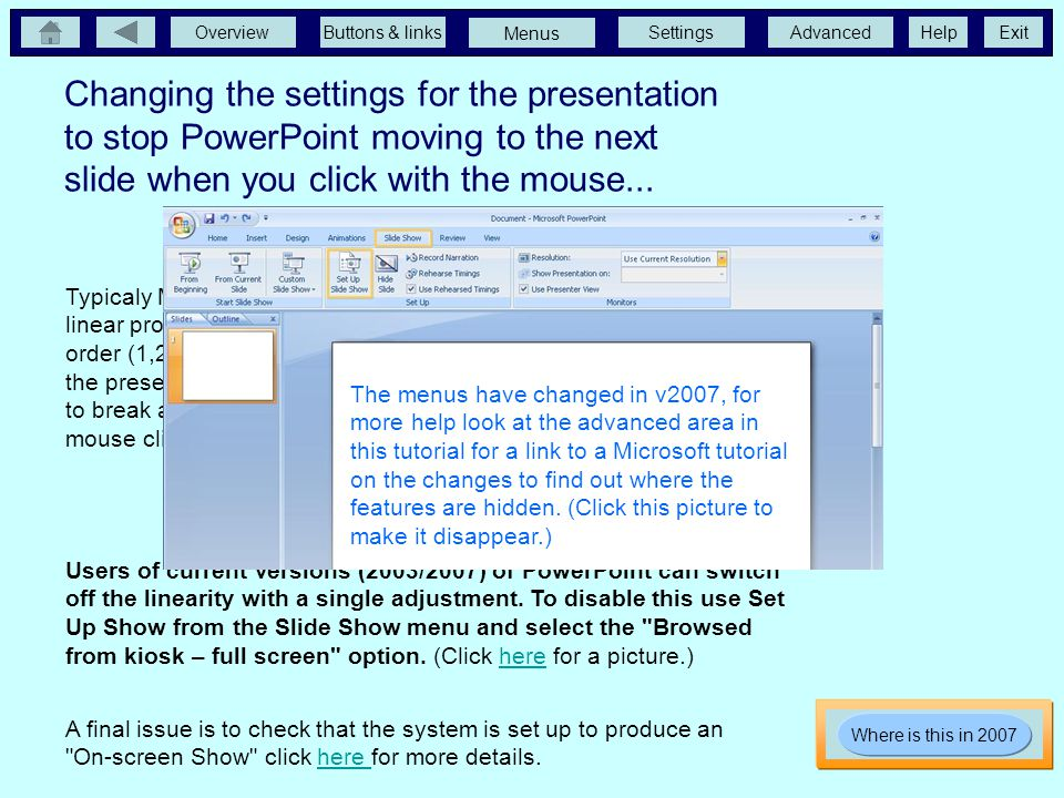 Changing the settings for the presentation to stop PowerPoint moving to the next slide when you click with the mouse...