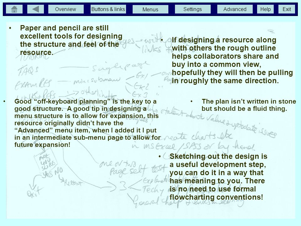 Planning the Resource Paper and pencil are still excellent tools for designing the structure and feel of the resource.