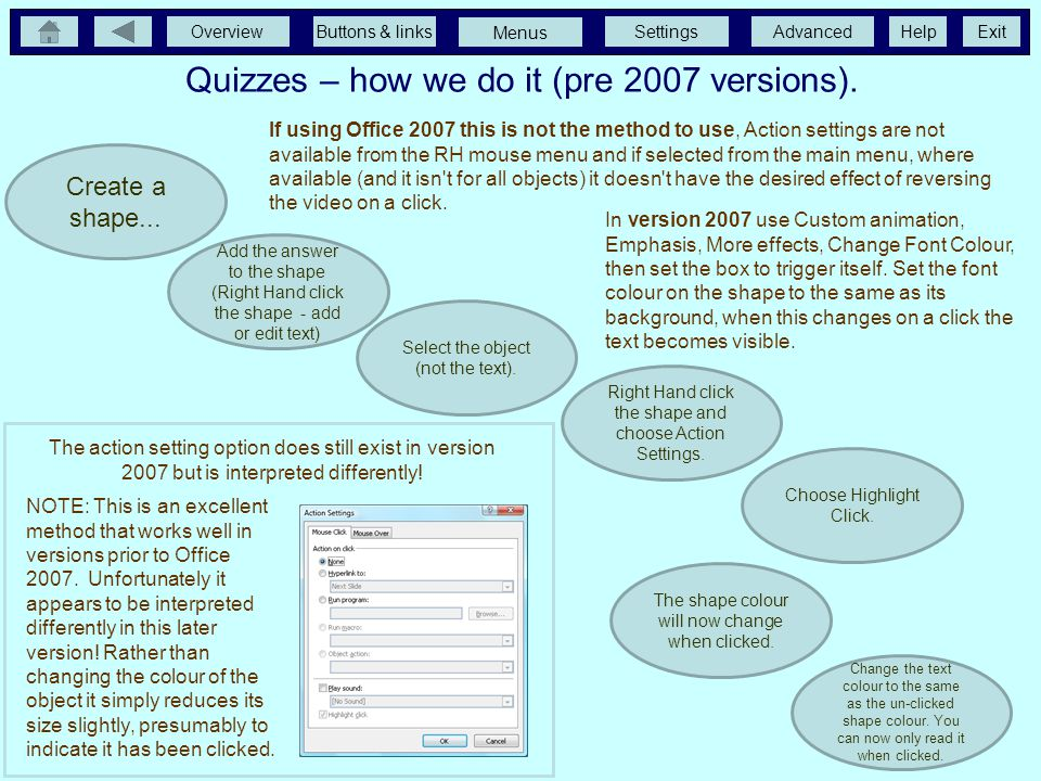 Quizzes – how we do it (pre 2007 versions).