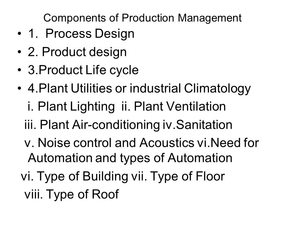 Components of Production Management
