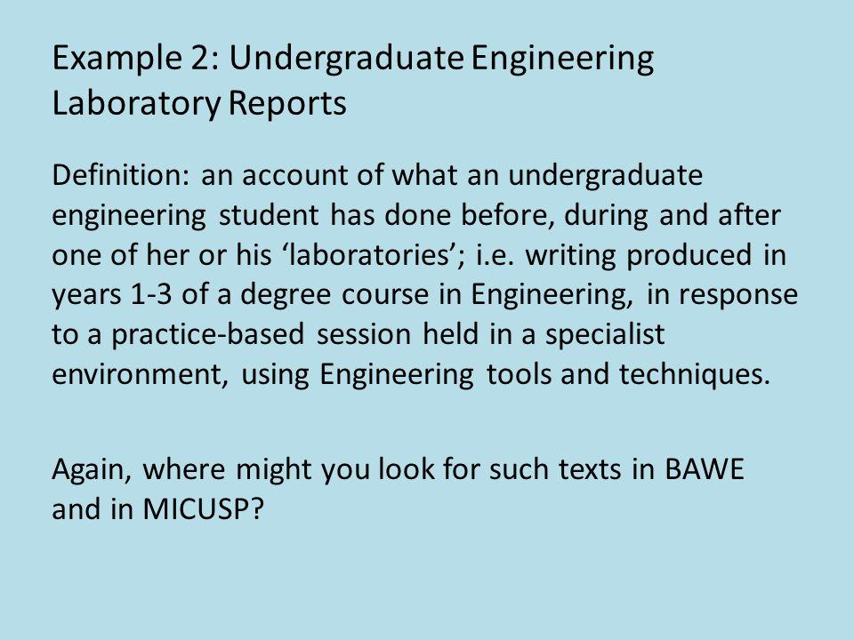Example 2: Undergraduate Engineering Laboratory Reports