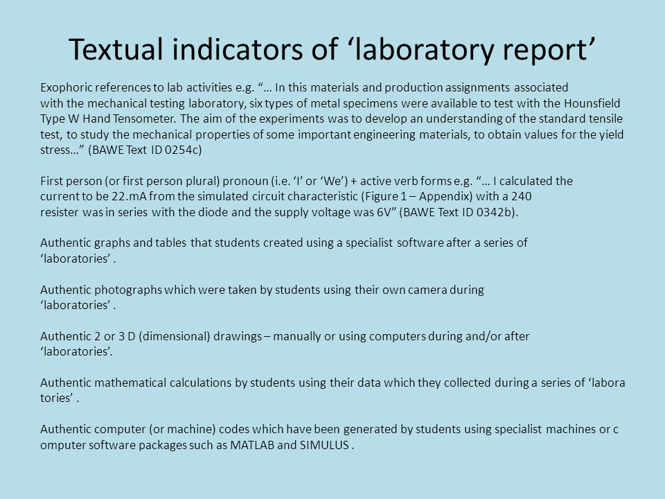 Textual indicators of 'laboratory report'