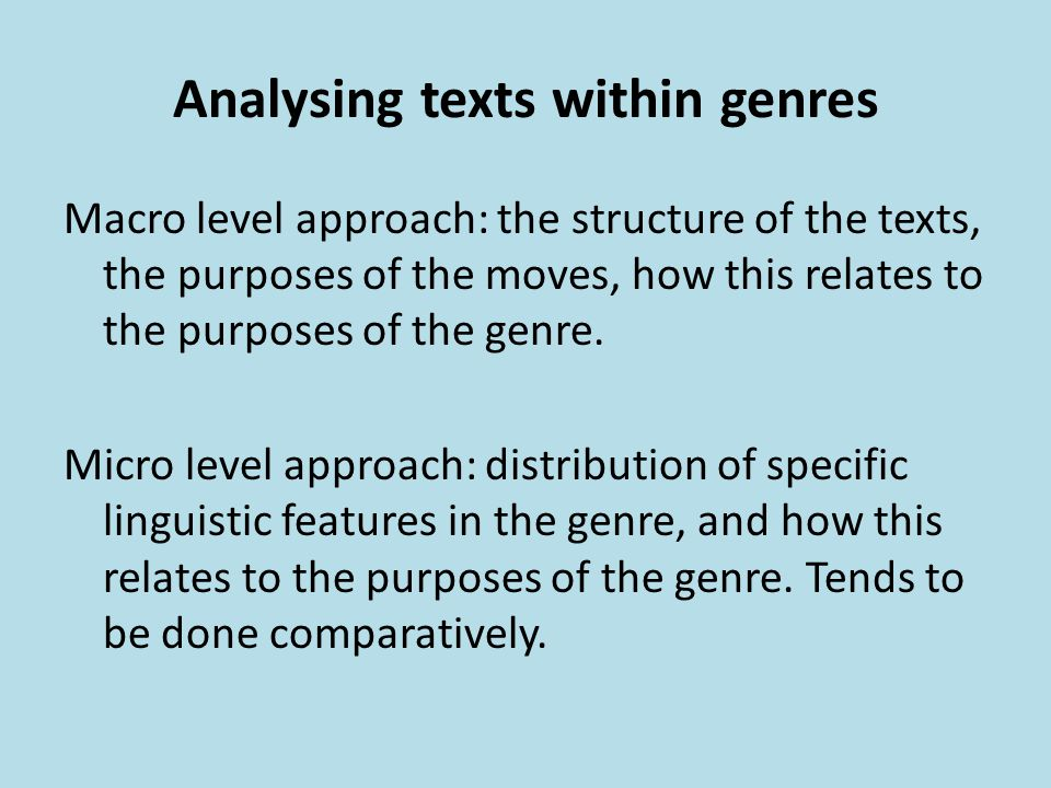 Analysing texts within genres