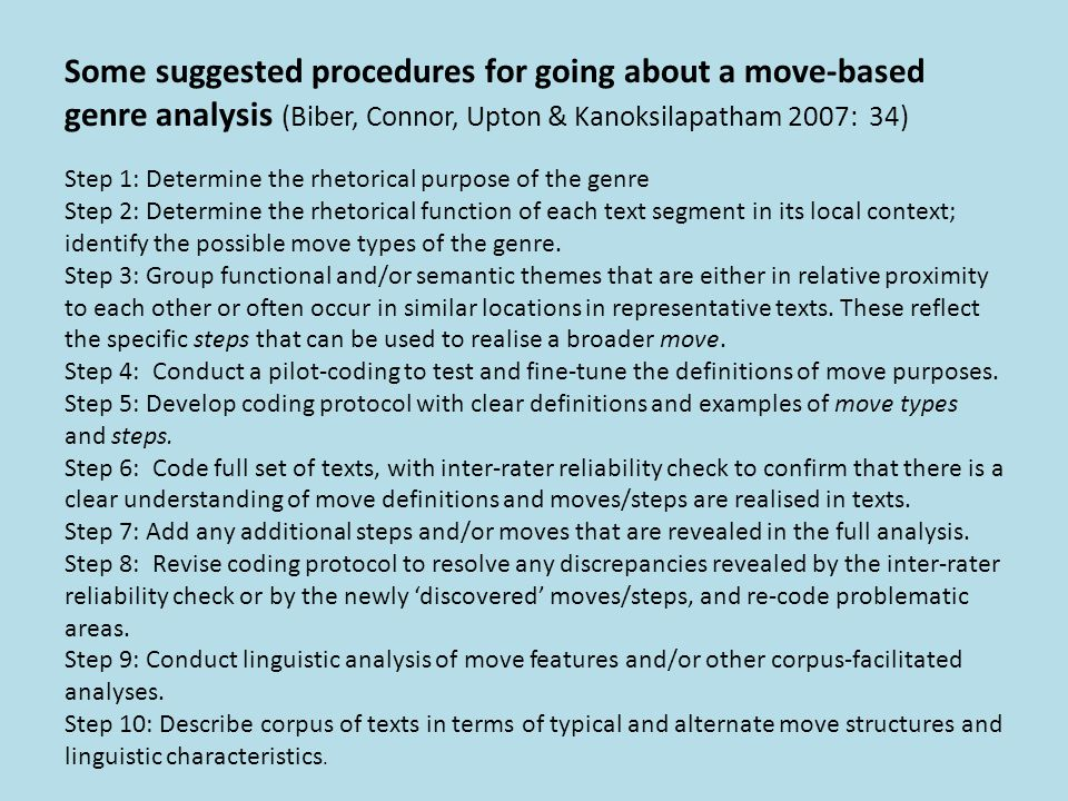 Some suggested procedures for going about a move-based genre analysis (Biber, Connor, Upton & Kanoksilapatham 2007: 34)