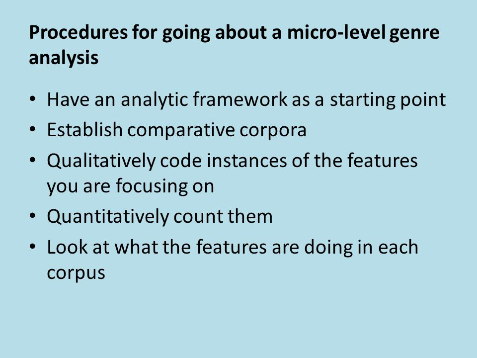 Procedures for going about a micro-level genre analysis