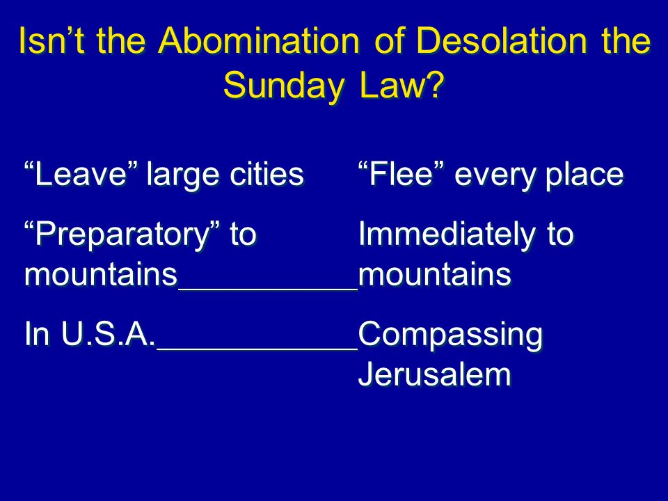 Isn't the Abomination of Desolation the Sunday Law