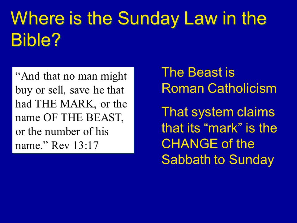 Where is the Sunday Law in the Bible