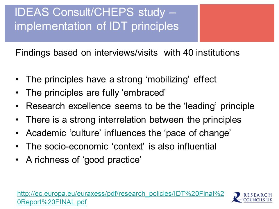 IDEAS Consult/CHEPS study – implementation of IDT principles