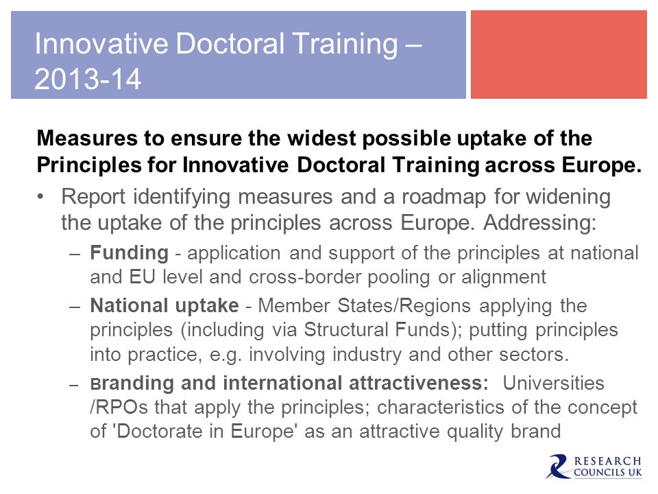 Innovative Doctoral Training –