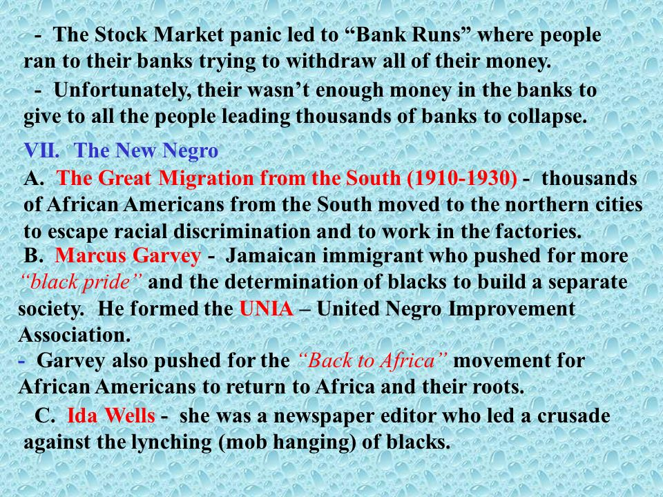 - The Stock Market panic led to Bank Runs where people ran to their banks trying to withdraw all of their money.