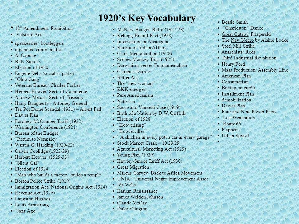 1920's Key Vocabulary 18th Amendment/ Prohibition