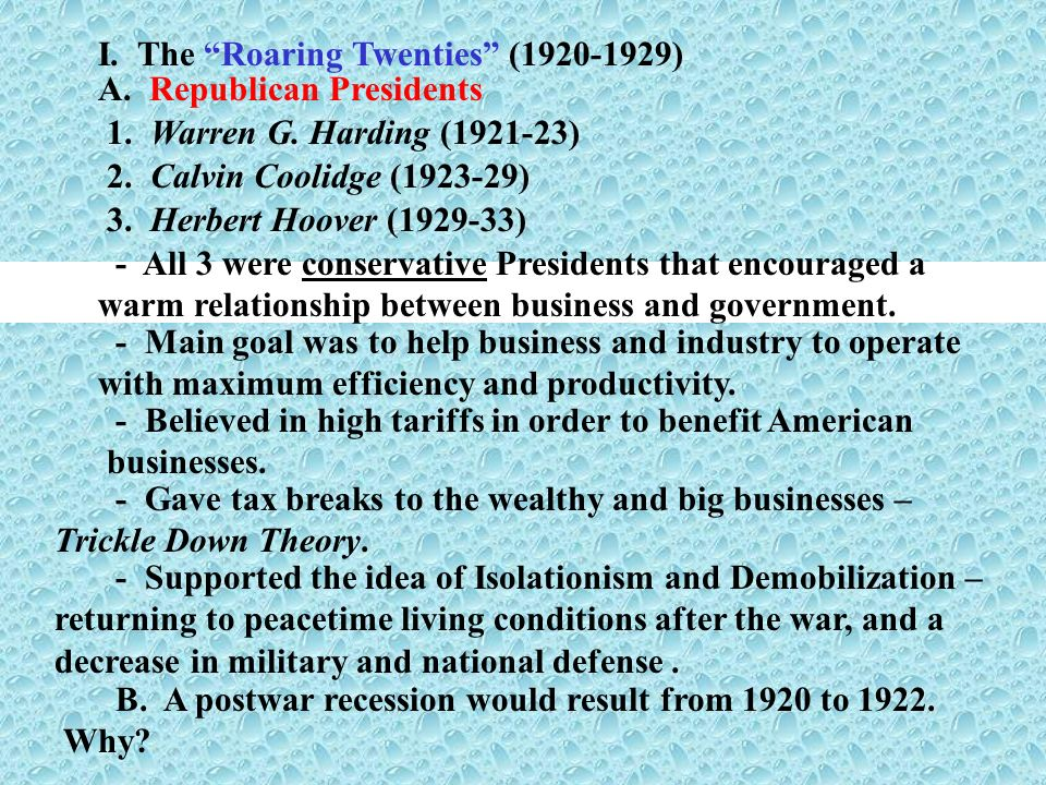 I. The Roaring Twenties (1920-1929)