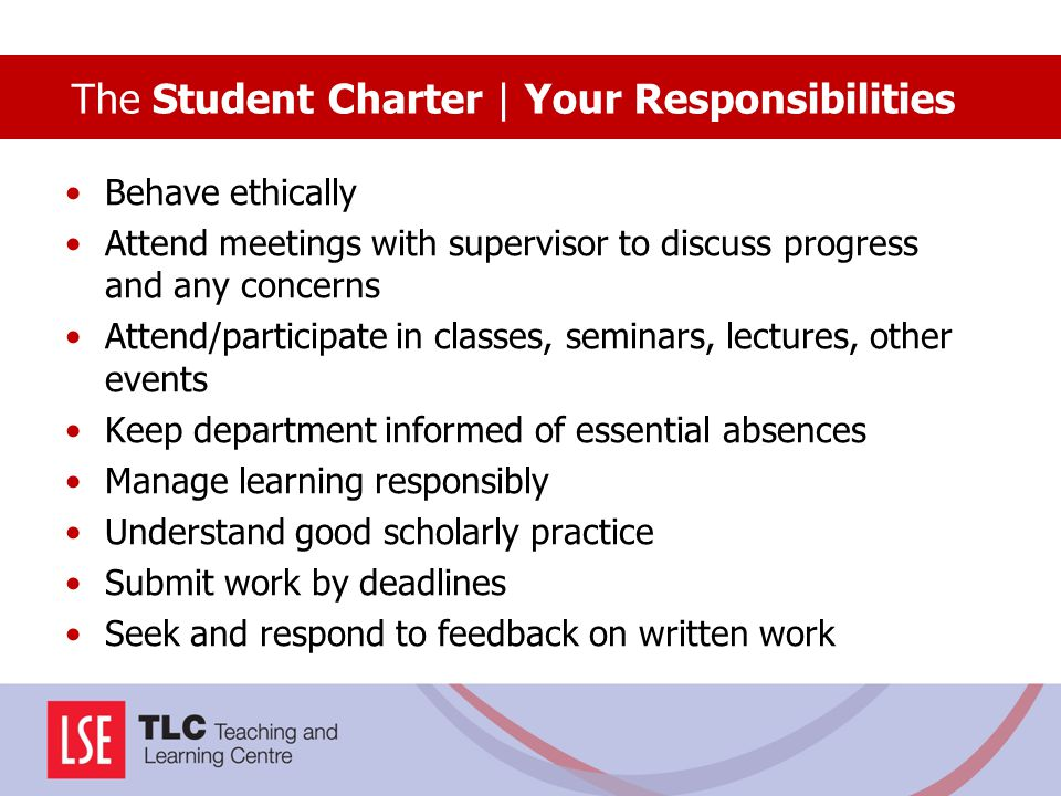 The Student Charter | Your Responsibilities