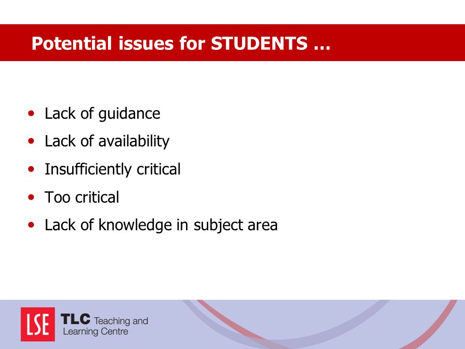 Potential issues for STUDENTS …
