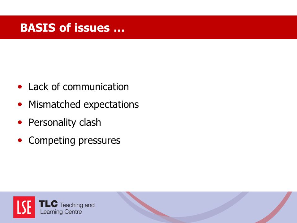 BASIS of issues … Lack of communication Mismatched expectations