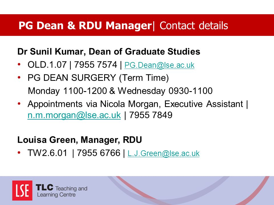 PG Dean & RDU Manager| Contact details