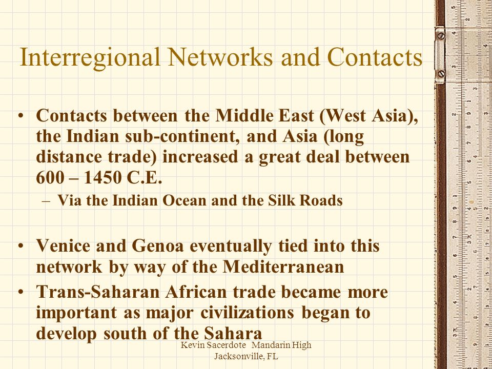 Interregional Networks and Contacts