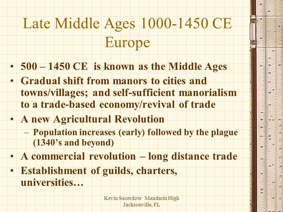 Late Middle Ages 1000-1450 CE Europe