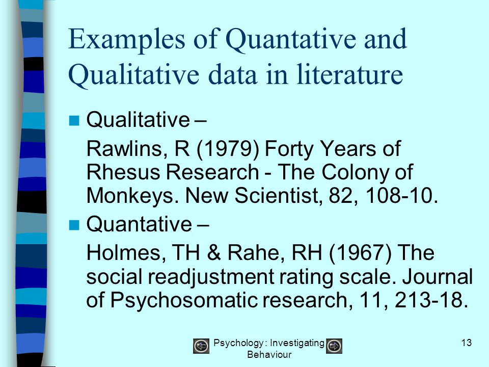 Examples of Quantative and Qualitative data in literature