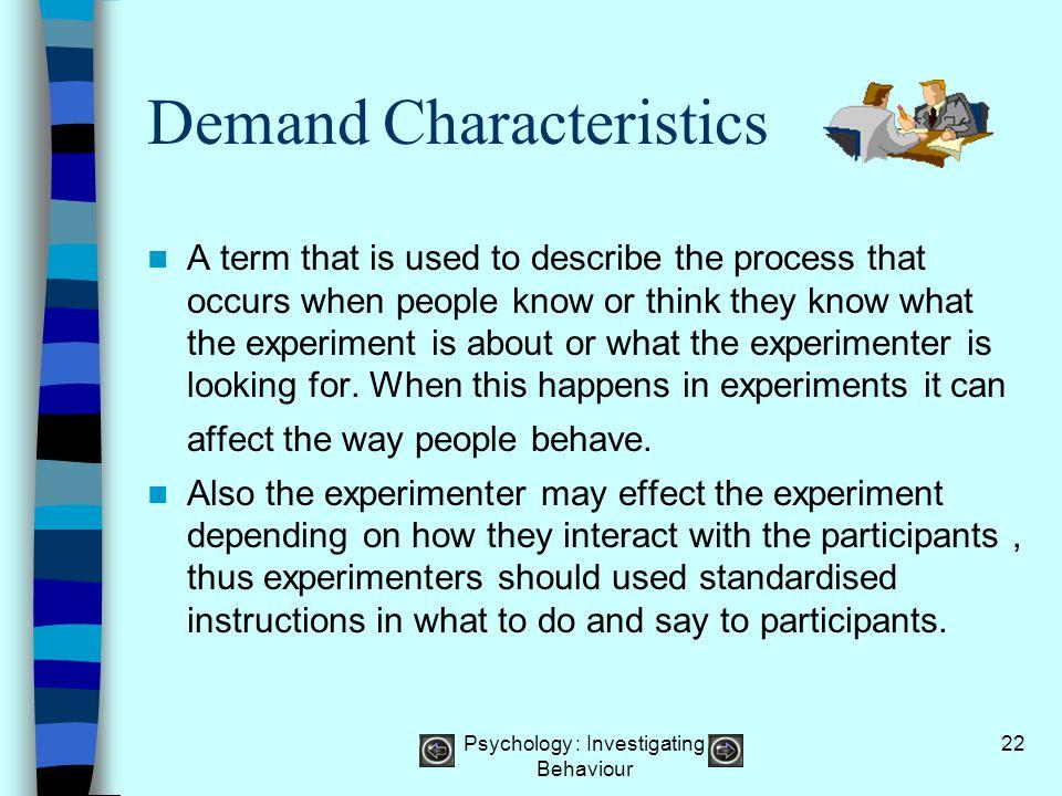 Demand Characteristics