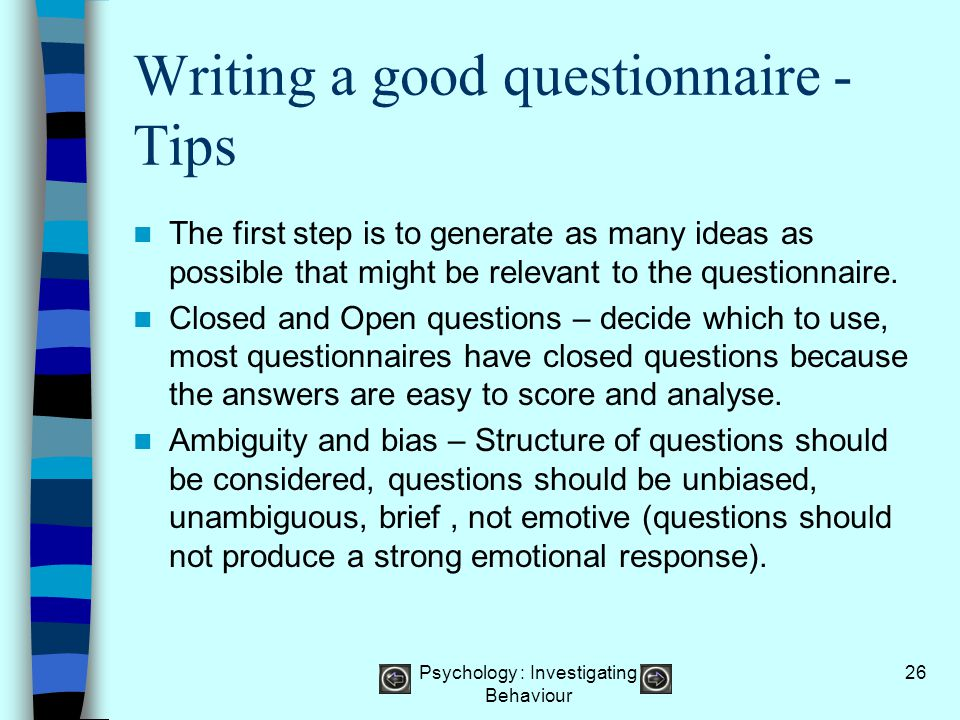 Writing a good questionnaire - Tips