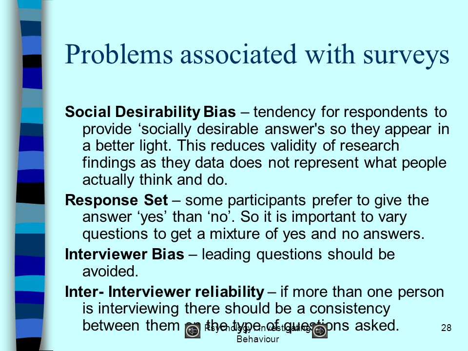 Problems associated with surveys