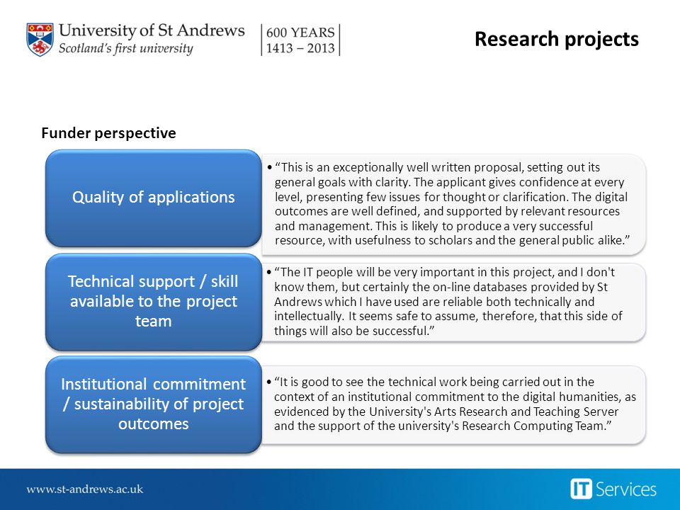 Research projects Quality of applications