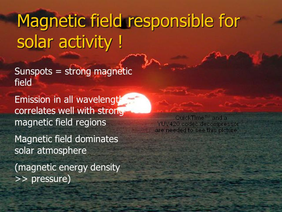 Magnetic field responsible for solar activity !
