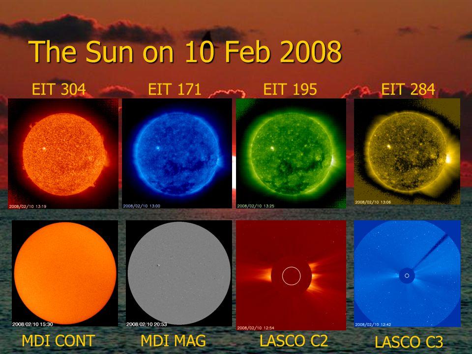 The Sun on 10 Feb 2008 EIT 304 EIT 171 EIT 195 EIT 284 MDI CONT