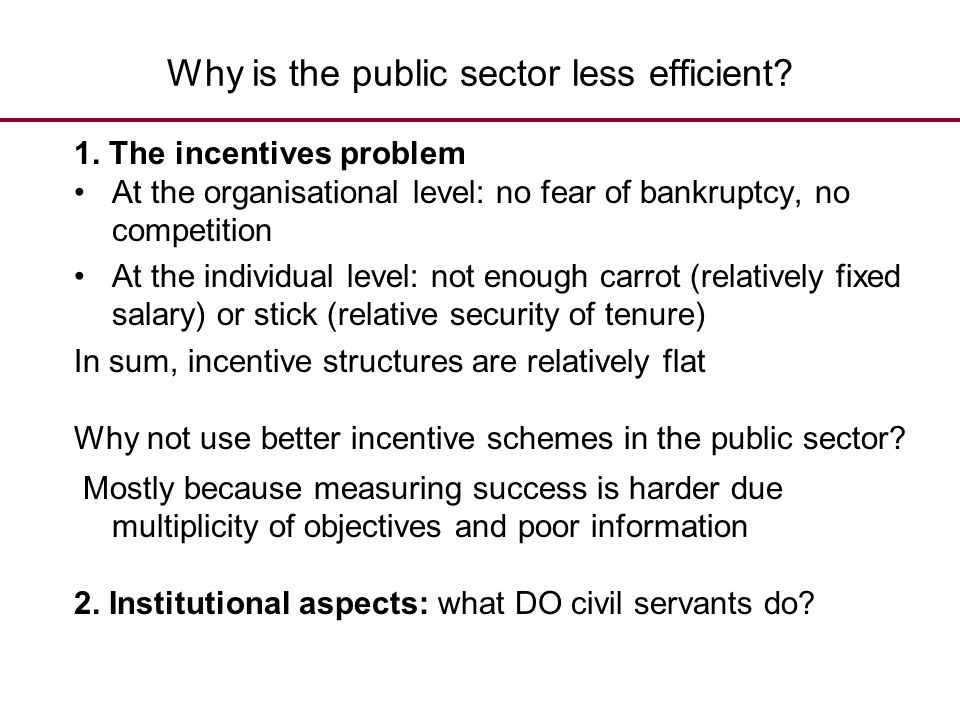Why is the public sector less efficient