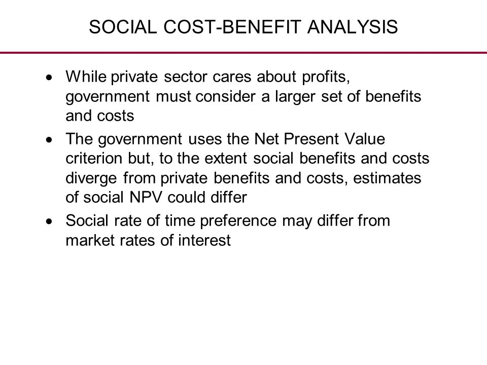 SOCIAL COST-BENEFIT ANALYSIS