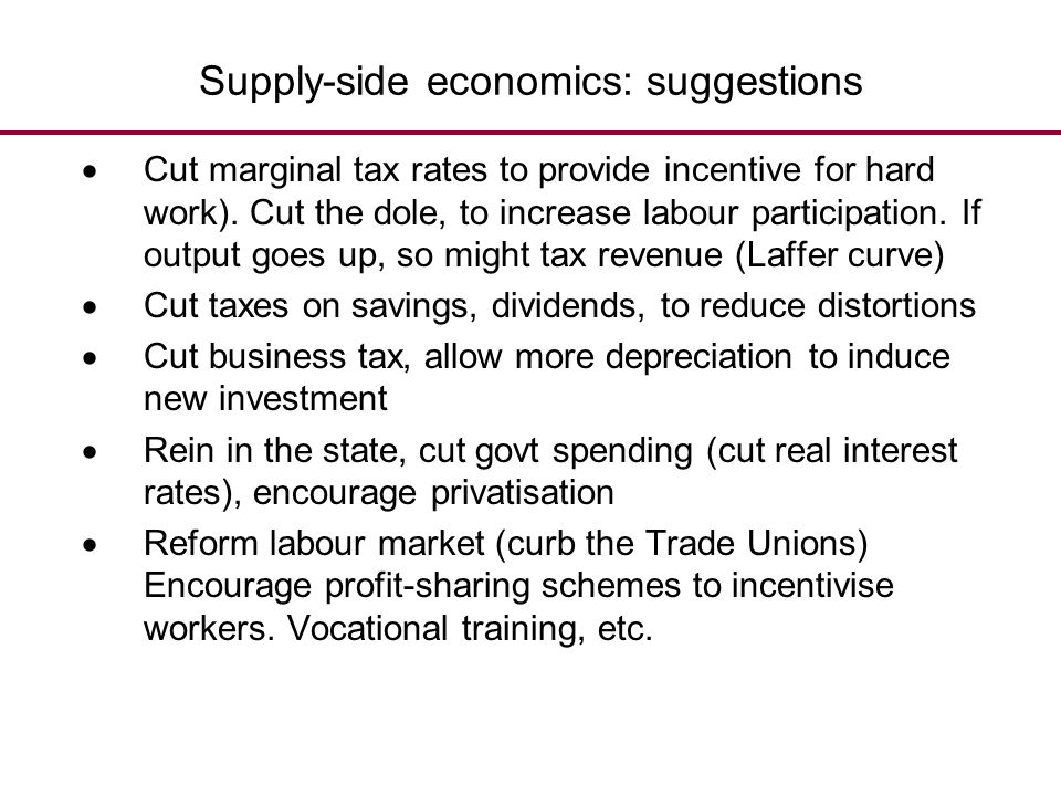 Supply-side economics: suggestions