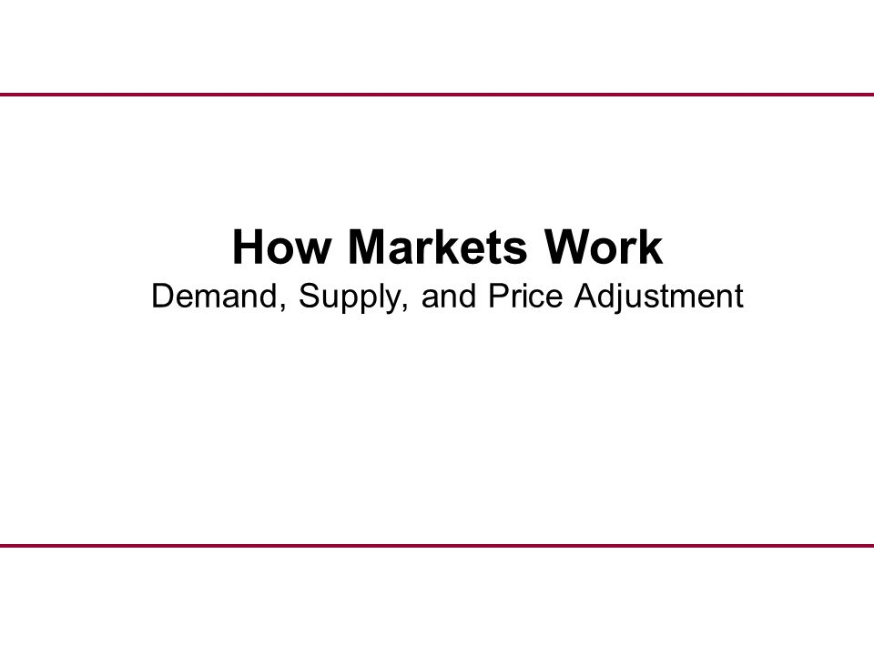 How Markets Work Demand, Supply, and Price Adjustment