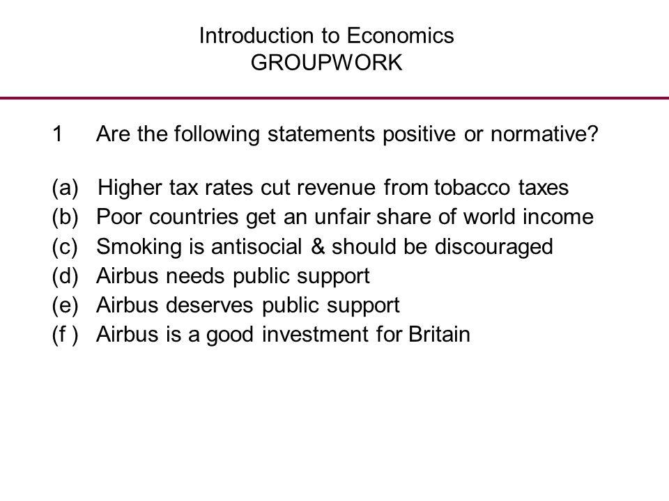 Introduction to Economics GROUPWORK