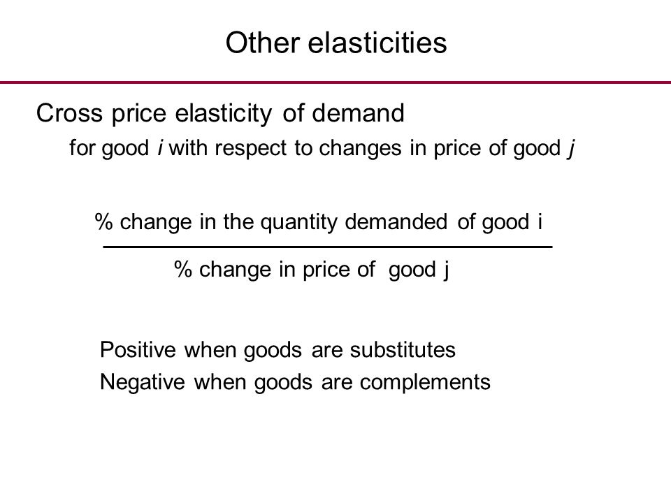 Other elasticities Cross price elasticity of demand