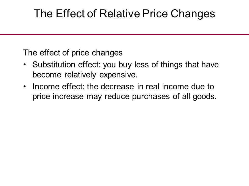 The Effect of Relative Price Changes