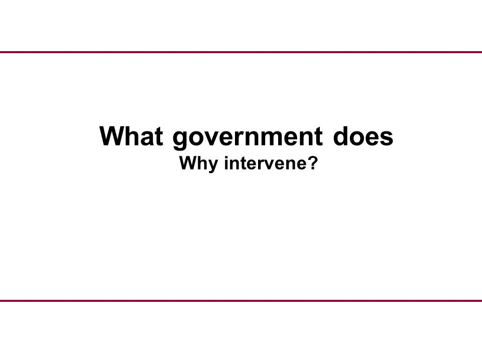 What government does Why intervene