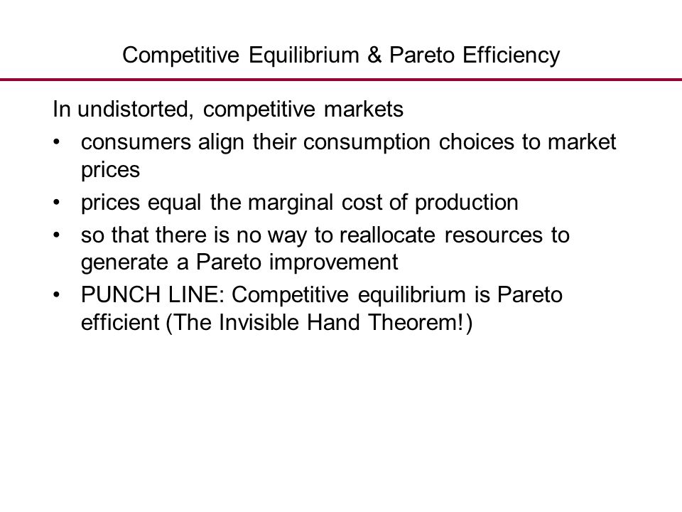 Competitive Equilibrium & Pareto Efficiency