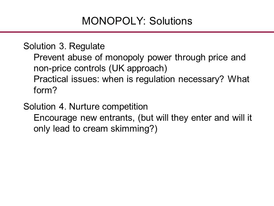 MONOPOLY: Solutions