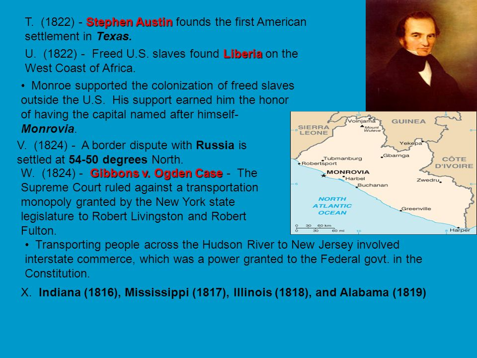 T. (1822) - Stephen Austin founds the first American settlement in Texas.