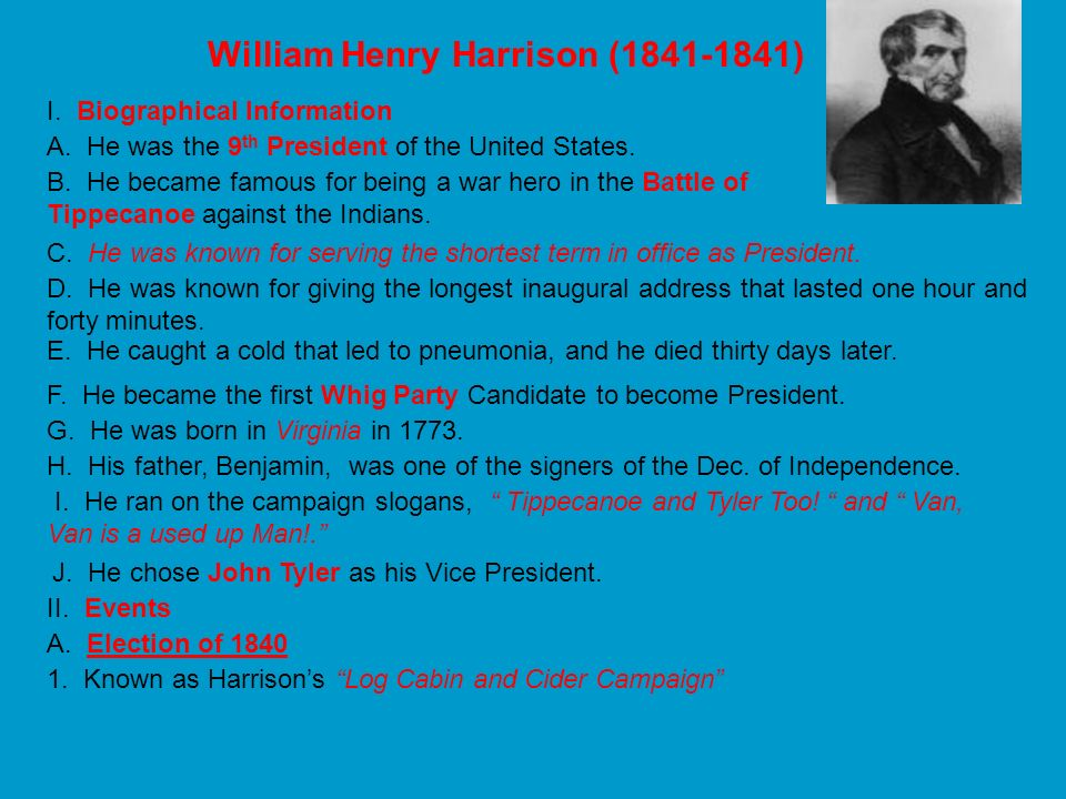 William Henry Harrison ( )