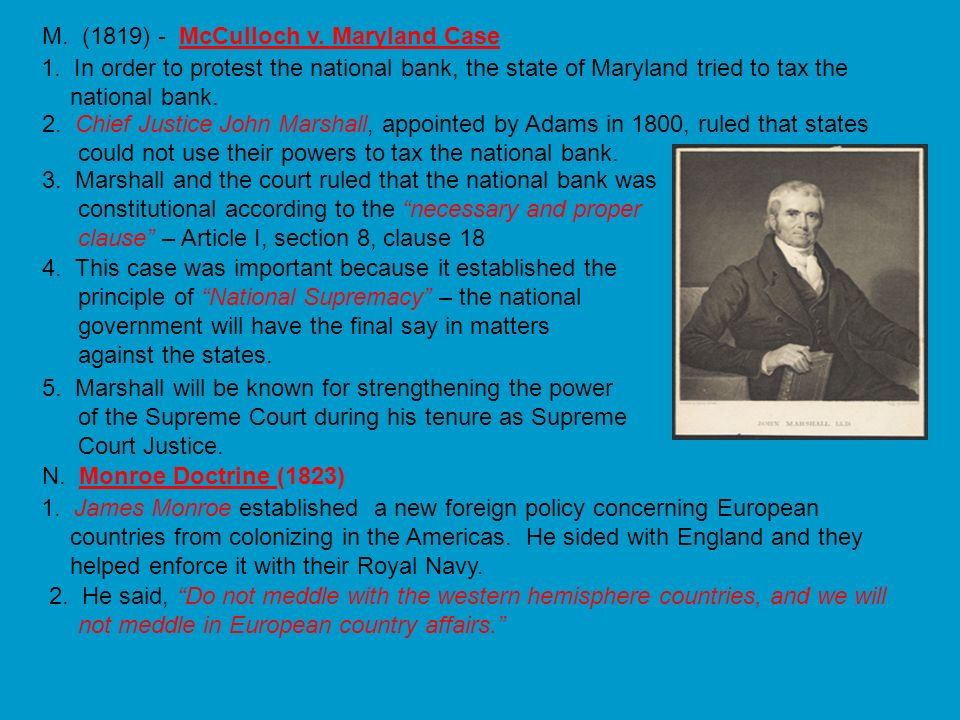 M. (1819) - McCulloch v. Maryland Case