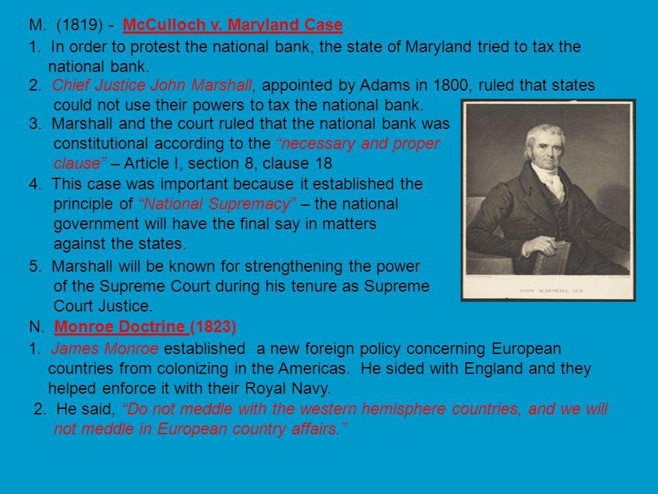 M. (1819) - McCulloch v. Maryland Case
