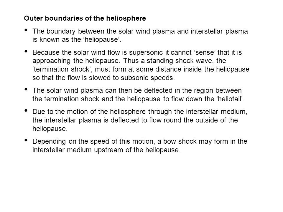 Outer boundaries of the heliosphere
