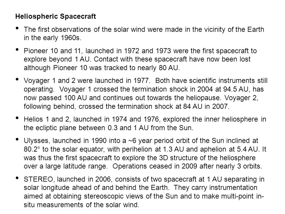 Heliospheric Spacecraft