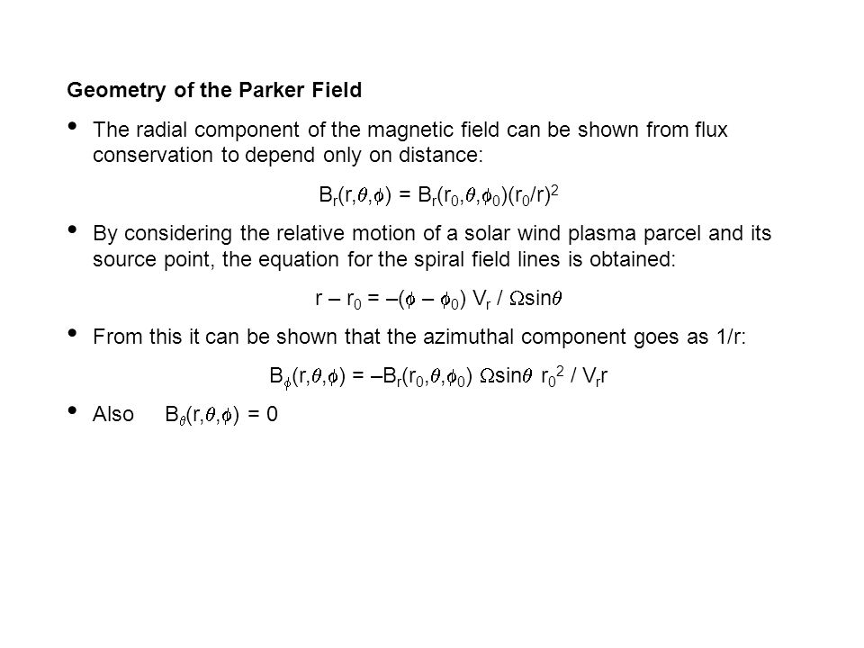 Geometry of the Parker Field